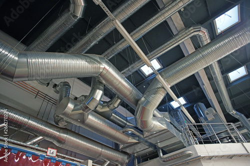Valokuvatapetti Ventilation pipes and ducts of industrial air condition