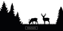 Two Wildlife Reindeer Silhouet...