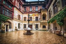 Beautiful Courtyard Of Peles Castle, Romania