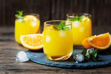 Fresh Summer Cocktail With Orange And Mint