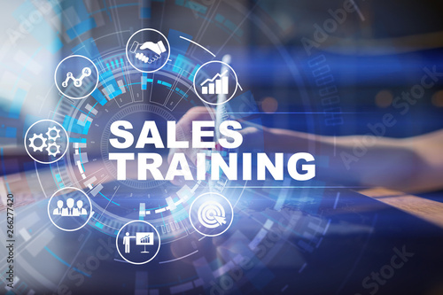 Poster Montagne Sales training, Business development and marketing concept on virtual screen.