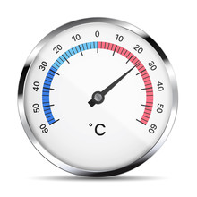 Realistic Illustration Of A White Circular Metal Thermometer With Reflections, Gray Hand And Numbers. Isolated On White, Vector