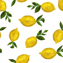 Pattern With Watercolor Lemons
