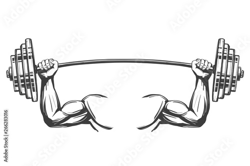 Fototapeta arm, bicep, strong hands holding a weight, icon cartoon hand drawn vector illust
