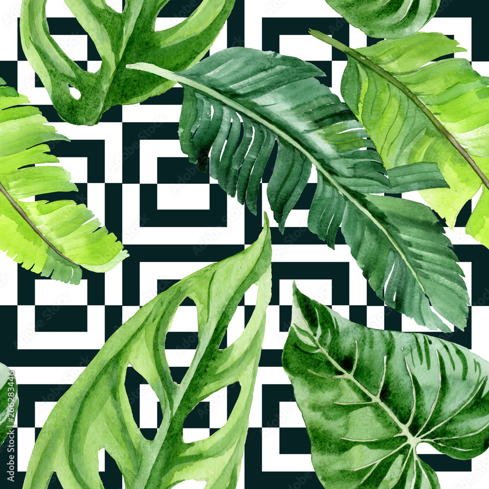 Fototapeta Palm beach tree leaves jungle botanical. Watercolor background illustration set. Seamless background pattern.