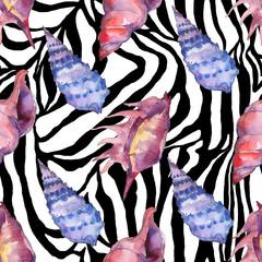 Fototapeta na wymiar Summer beach seashell tropical elements. Watercolor background illustration set. Seamless background pattern.