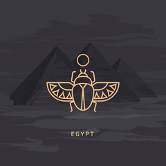 Vector drawing icon of Egyptian scarab beetle, personifying the god Khepri. Icon isolated on background illustration of Egyptian pyramids painted by hand.