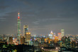 Night aerial view of the Taipei 101 and cityscape from Xiangshan