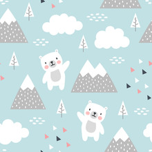 Teddy Bear Seamless Pattern Ba...