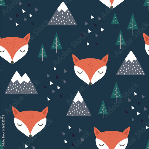 fototapeta na lodówkę Fox Seamless Pattern Background, Scandinavian Happy cute fox in the forest between mountain tree and cloud, cartoon fox vector illustration for kids nordic background with triangle dots