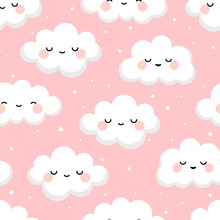 Cloud Cute Smiling Face Seamless Pattern Background With Star Glow, Green Repeating Vector Illustration