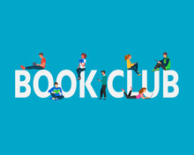 Book Club Concept Illustration. Students Boy And Girl Using Laptop, Books, Standing And  Sitting Near Capital Letters Book Club. Vector Illustration Can Use For, Landing Page, Template,  Banner, Flyer