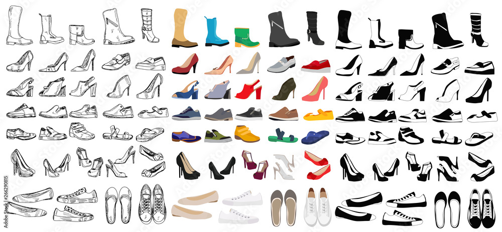 Fototapeta set, collection of men's and women's shoes