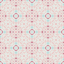 Seamless Vector Pattern Illustration In Traditional Style. Cute Pink Vintage Surface Pattern