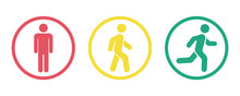 Man Stands, Walk And Run Icon Set