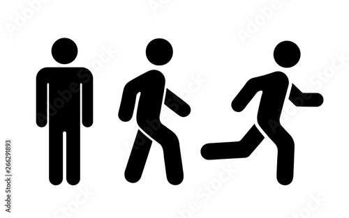 Obraz Man stands, walk and run icon set. Vector illustration - fototapety do salonu