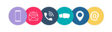 Contact Us Icons. Color Social Media Network Icons. Vector Illustration
