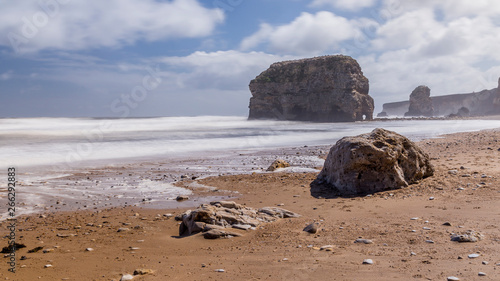 Obraz na plátne Marsden Rock and Beach, South Shields, Tyne and Wear, England,  on a windswept d