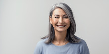 Beautiful Asian With Grey Hair...