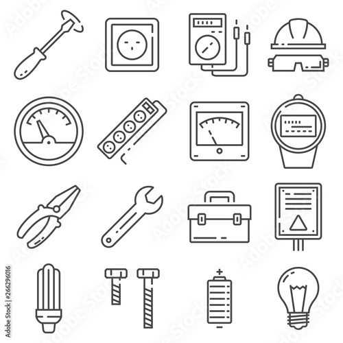 Vector Electricity outline icons set on white background Canvas Print