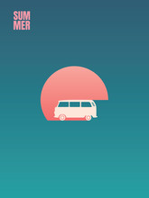 Summer Holiday, Road Trip Adventure And Leisure Vector Concept. Minivan Or Campervan In Sunset. Symbol Of Relax, Cruise, Journey, Voyage, Recreation.
