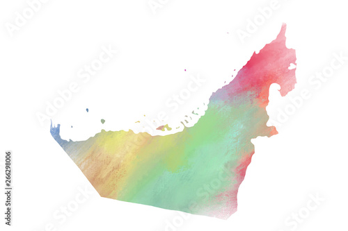 Photo Colorful watercolor United Arab Emirate map on canvas background