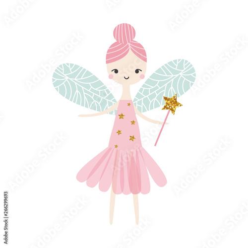 Fototapeta Cute fairy with glitter magic wand