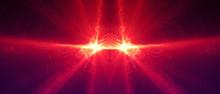 Red Circular Wave Glow. Kaleid...