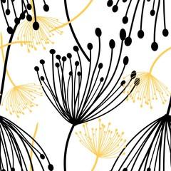 Fototapeta Kwiaty Dandelions fluff seamless pattern vector illustration eps 10.
