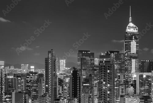 Skyline of Hong Kong city at night Billede på lærred