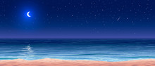 Vector Calm Ocean Shore At Night