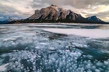 Ice Bubble Abraham Lake, Banff...