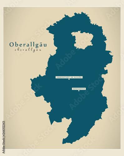 Obraz na plátně  Modern Map - Oberallgaeu county of Bavaria DE