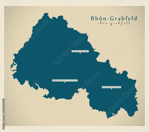 Fotografie, Obraz  Modern Map - Rhoen-Grabfeld county of Bavaria DE