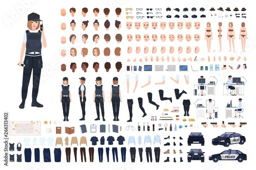 Printed kitchen splashbacks Height scale Policewoman animation set or DIY kit. Bundle of female police officer body parts, faces, hairstyles, uniform, clothing and accessories isolated on white background. Flat cartoon vector illustration.