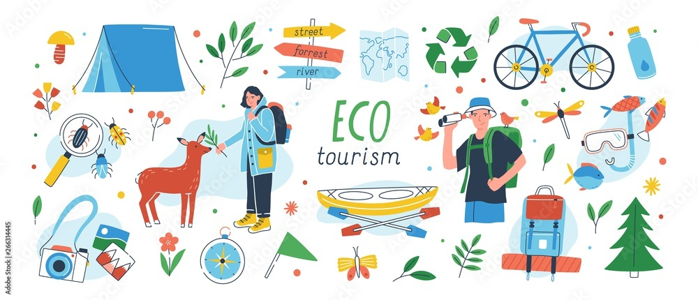 Fototapeta Ecotourism set. Collection of eco friendly tourism design elements isolated on white background - male and female tourists or ecologists, tent, backpack, kayak. Flat cartoon vector illustration.