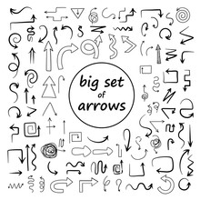 Doodle Arrows Set. Sketch Swirly Arrows Black Hand Drawn Curved Pointer Icons Isolated On White Background - Vector Illustration