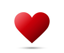 Realistic Red Heart Icon With Shadow Isolated On White Background. Love Emoji