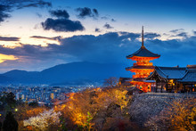 Beautiful Kyoto City And Temple At Twilight, Japan.