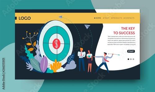 Photo  Key to success goal achievement web page template