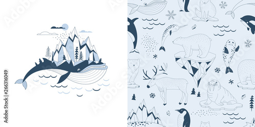 Fototapeten Künstlich Magical childish pajamas graphics set with t-shirt print and accompanied tileable background. Big Blue Whale with Mountains on his back illustration. Polar Bear Walrus Penguin Narwal Seal Reindeer