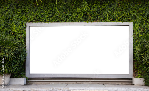 Foto  large white mock up board of shop window with green tropical wall on concrete footpath