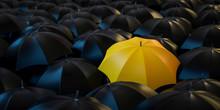 3D Illustration Gelber Regenschirm Frontal