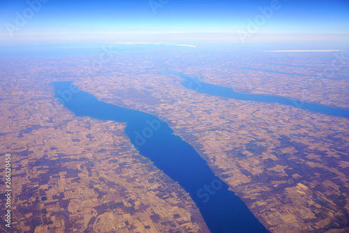 Fototapeta Aerial view of the Cayuga Lake and the Seneca Lake in upstate New York