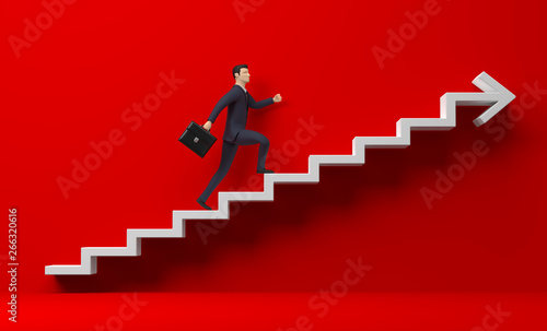 Photo 3D Illustration Treppe Aufstieg