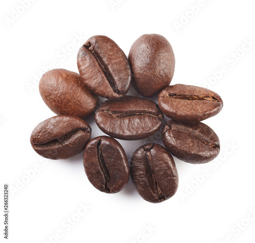 Photo sur Toile Salle de cafe Coffee beans isolated on white background. Close up.