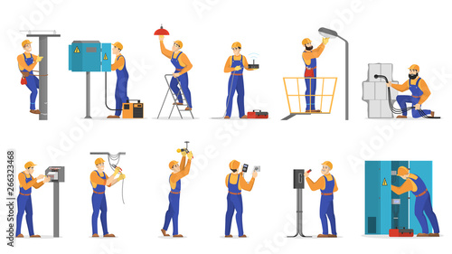 Leinwand Poster Electricity works set. Professional worker in the uniform