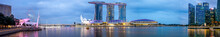 SINGAPORE-October 14 2018: Panorama Of Singapore Skyline And River At Night