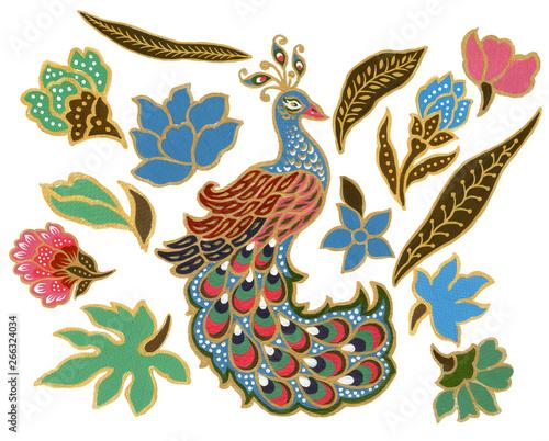 piekny-kwiat-i-paw-ptak-sztuki-malezyjski-i-indonezyjski-batik-sarong-elementy-akwarela-gwasz-na-bialym-tle