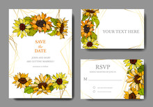 Vector Sunflower Botanical Flowers. Yellow And Green Engraved Ink Art. Wedding Background Card Floral Decorative Border.